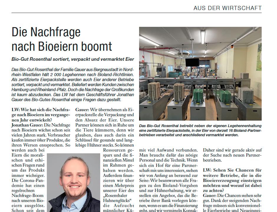 Bild zu einer Veröffentlichung des Bio-Guts Rosenthal im Hessenbauer und Pfälzer Bauer